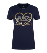 Juicy Couture Crystal Heart Logo T Shirt Female Navy