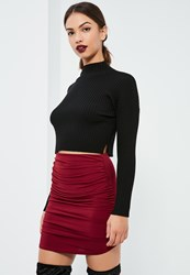 Missguided Burgundy Slinky Asymmetric Ruched Side Mini Skirt Berry