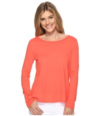 Dylan By True Grit Vintage Soft Cotton Long Sleeve Tiered Back Tee Washed Coral Women's Long Sleeve Pullover
