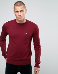 Armani Jeans Jumper With Crew Neck With Eagle Logo In Burgundy Burgundy Red