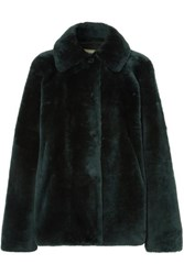 Utzon Reversible Shearling Jacket Dark Green