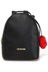 Love Moschino Woman Pompom Embellished Faux Leather Backpack Black