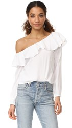 Minkpink On The Sly One Shoulder Top Off White