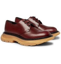 Alexander Mcqueen Exaggerated Sole Leather Derby Shoes Brick