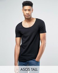 Asos Tall Muscle Fit T Shirt With Deep Scoop Neck In Black Black