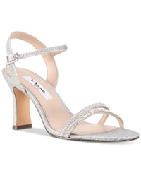 Nina Avalon Embellished Ankle Strap Evening Sandals Women's Shoes Silver
