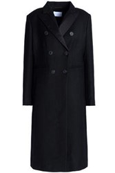 Sandro Double Breasted Satin Trimmed Wool Blend Coat Black