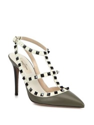 Valentino Rockstud Ankle Strap Pumps Green Blue