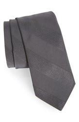 Men's Todd Snyder White Label Textured Stripe Silk And Cotton Tie Charcoal