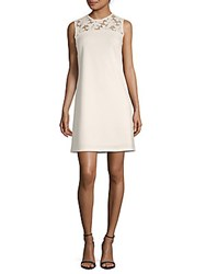 Donna Ricco Embroidered Lace Sleeveless Dress Ivory