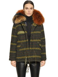 Mrandmrs Italy Check Boiled Wool Parka With Murmansky