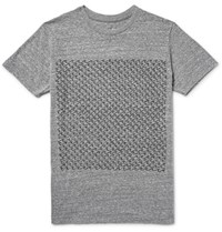 Mollusk Interval Printed Melange Jersey T Shirt Gray