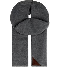 Aspinal Of London Suede Patch Cashmere Scarf Grey