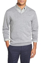 Men's Bonobos Slim Fit Merino Wool V Neck Sweater Grey Heather