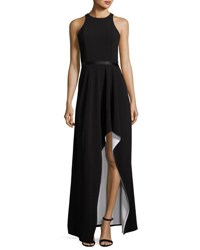 Halston Colorblock Racerback High Low Gown Black White Black White