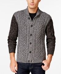 Club Room Chunky Knit Shawl Cardigan Sweater Only At Macy's Charcoal Heather