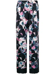 Odeeh Blossom Flowers Print Trousers Blue