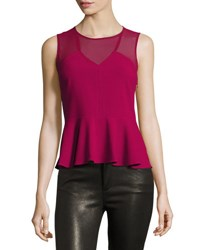 1.State Sleeveless V Neck Peplum Top Dark Pink
