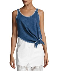 Mcq By Alexander Mcqueen Sleeveless Knotted Denim Boxy Top Blue