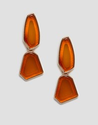 Monki Drop Earrings In Brown And Gold
