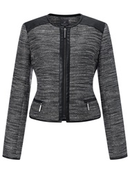 Adrianna Papell Tweed Jacket With Faux Leather Black White