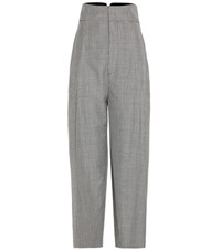 Jacquemus Houndstooth Wool And Mohair Cropped Trousers Grey