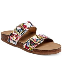 Madden Girl Brando Footbed Sandals Women's Shoes Red Multi