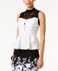 Thalia Sodi Mock Neck Lace Trim Peplum Top Only At Macy's Washed White