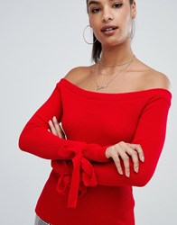Boohoo Tie Cuff Bardot Jumper In Red Red