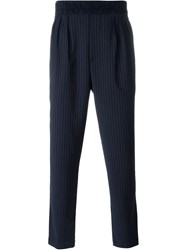 Paolo Pecora Pinstripe Tapered Trousers Blue