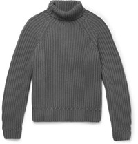 Berluti Ribbed Cashmere Rollneck Sweater Charcoal