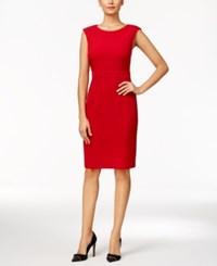 Kasper Crepe Sheath Dress Fire Red