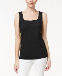 Karen Scott Square Neck Tank Top Only At Macy's Deep Black