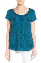 Lucky Brand Women's Embroidered Short Sleeve Shirttail Tee Peacock