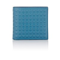 Balenciaga Men's Grid Embossed Wallet Blue
