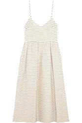 Mara Hoffman Striped Cotton Blend Midi Dress Cream