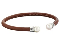 Majorica Brown Leather Pearl Bangle Silver Brown White Bracelet