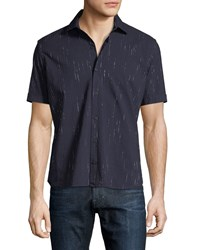 Culturata Metallic Striped Denim Shirt Navy