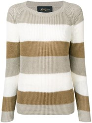 Les Copains Striped Knitted Sweater Neutrals