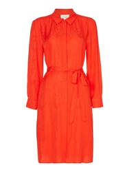 Linea Jacquard Shirt Dress Orange