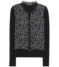 Dolce And Gabbana Polka Dot Silk Cardigan Black