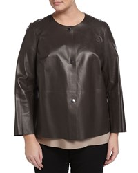 Lafayette 148 New York Plus Tansy Snap Front Leather Jacket Granite