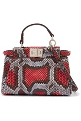 Fendi Peekaboo Micro Python Shoulder Bag Red