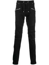 Balmain Frayed Skinny Trousers Black
