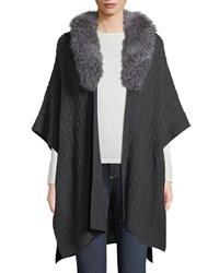 Neiman Marcus Luxury Cashmere Fur Collar Cape Charcoal