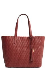 Cole Haan Payson Rfid Woven Leather Tote Brown Fired Brick