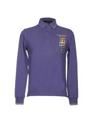 Aeronautica Militare Polo Shirts Purple