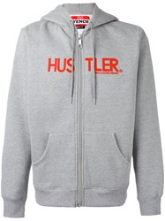 Hood By Air Hooded Sweatshirt Unisex Cotton Polyester L Grey
