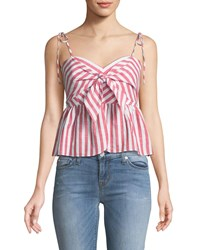 Bardot Summer Striped Tie Front Sleeveless Top Red Pattern