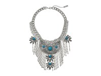 Steve Madden Tribal Curb Chain Necklace W Turquoise Stones And Dangling Fringe Necklace Silver Necklace